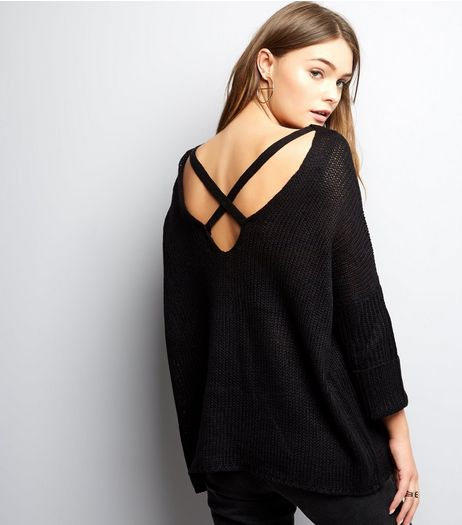 Black Cross Strap Back Knitted Jumper  | New Look
