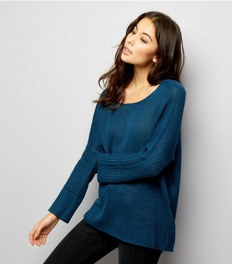 Noisy May Blue Cross Strap Back Knitted Jumper  | New Look