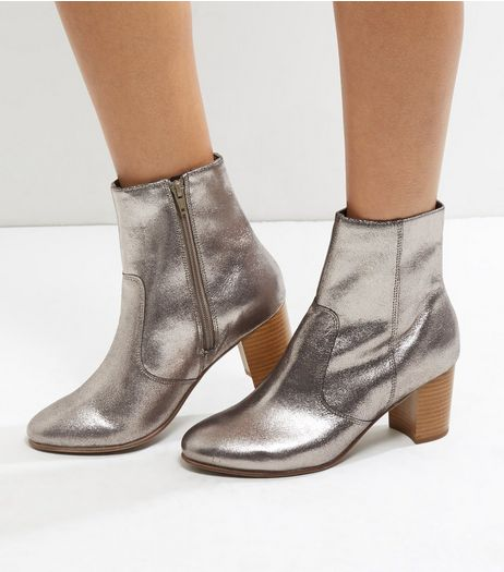 Wide Fit Silver Leather Contrast Block Heel Boots | New Look