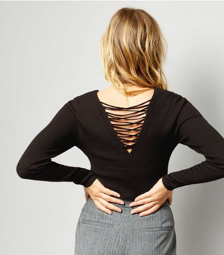Black Ribbed Lattice Back Jumper | New Look