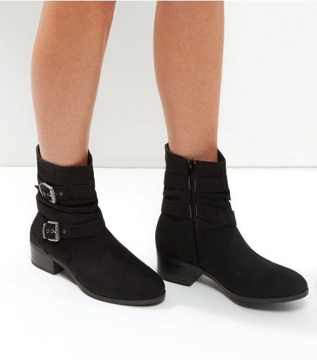 Wide Fit Black Buckle Strap Ankle Boots | New Look