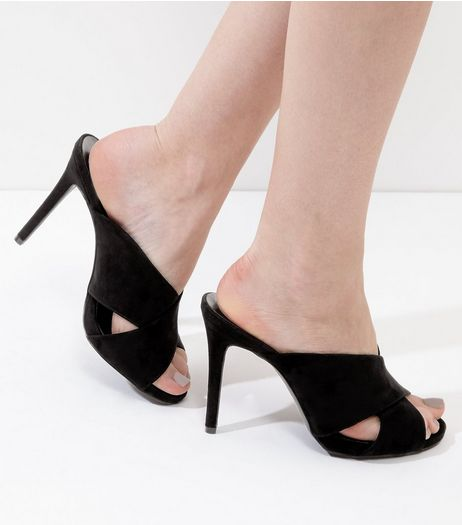 Wide Fit Black Cross Strap Front Heeled Mules | New Look