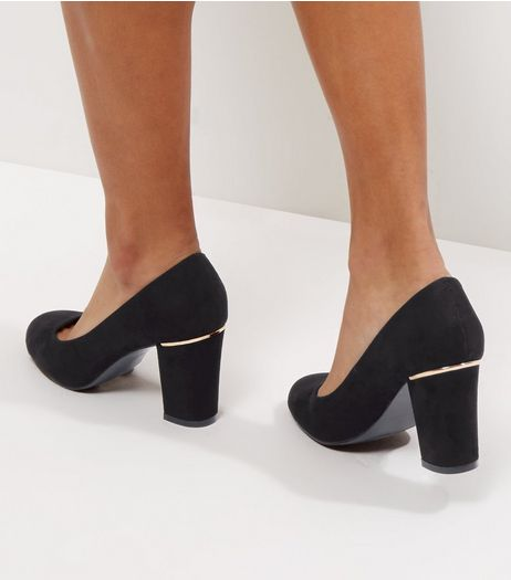 Wide Fit Black Suedette Metal Trim Court Shoes | New Look