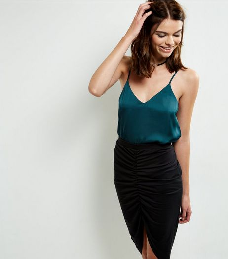Black Ruche Front Pencil Skirt | New Look
