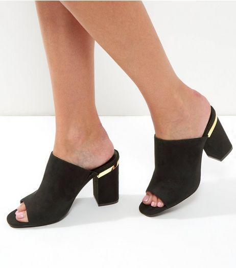 Black Suedette Metal Trim Heeled Mules | New Look