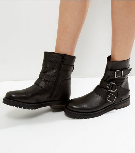 Black Leather Biker Boots | New Look