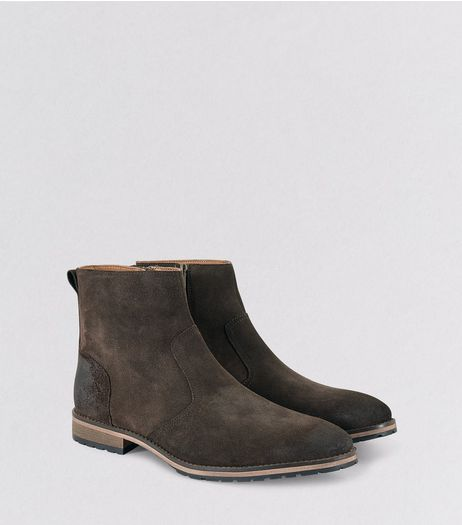 Brown Suede Waxed Biker Boots | New Look