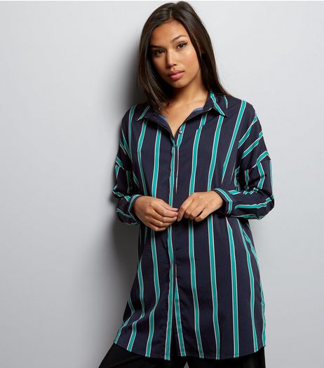 Noisy May Blue Stripe Long Sleeve Oversized Shirt  | New Look