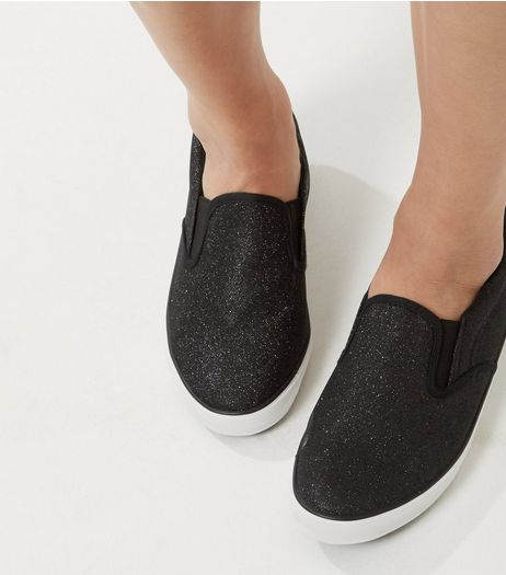 Wide Fit Black Glitter Slip On Plimsolls | New Look
