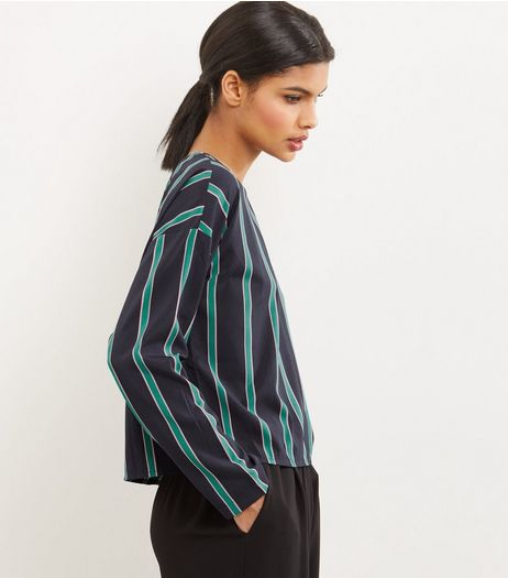 Noisy May Blue Stripe Long Sleeve Top  | New Look