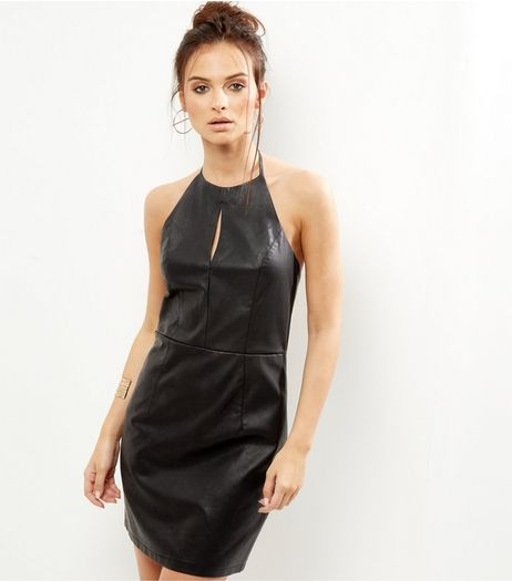 Black Leather-Look Keyhole Bodycon Dress | New Look