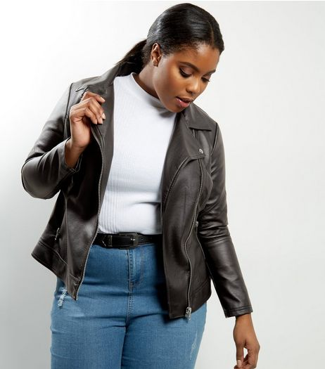 Curves Black Leather-Look Jacket | New Look