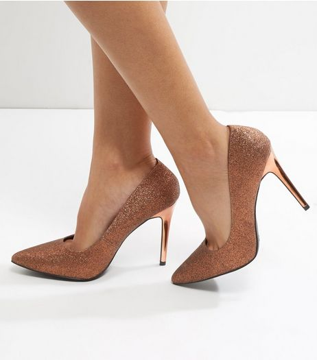 Wide Fit Bronze Glitter Pointed Court Shoes | New Look