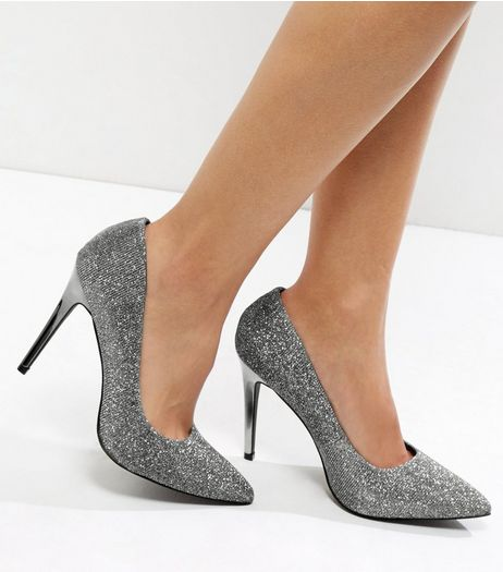 Wide Fit Pewter Glitter Pointed Court Shoes | New Look