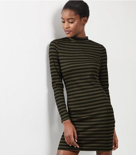 Green Stripe Funnel Neck Bodycon Dress | New Look