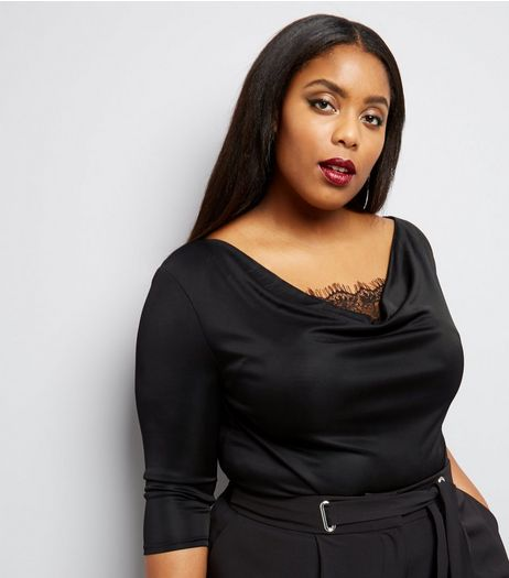 Curves Black Lace Panel Cowl Neck 3/4 Sleeve Top  | New Look