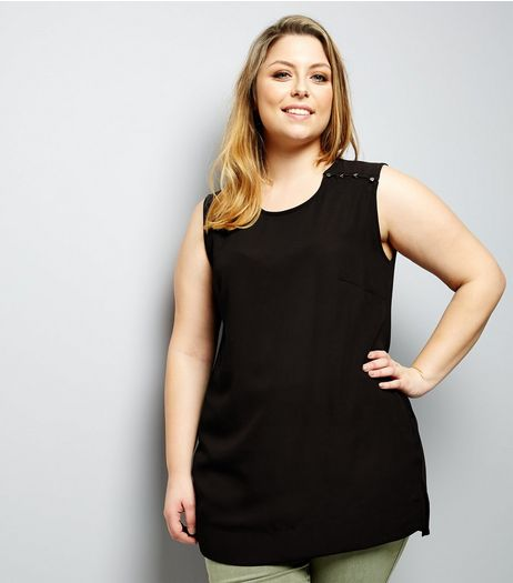 Curves Black Button Shoulder Jersey Back Sleeveless Top | New Look