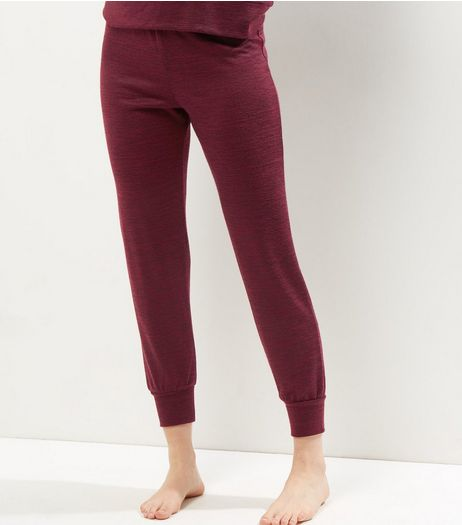 Burgundy Tie Waist Joggers | New Look
