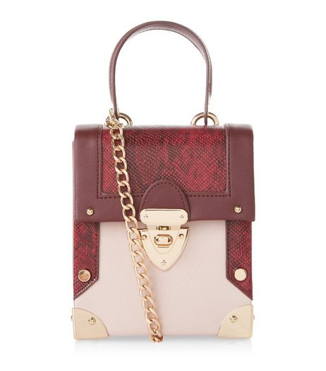 Burgundy Snakeskin Texture Panel Mini Box Bag | New Look