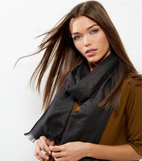 Black Metallic Stripe Longline Scarf | New Look