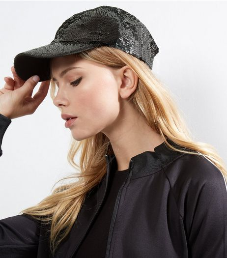 Black Sequin Cap  | New Look