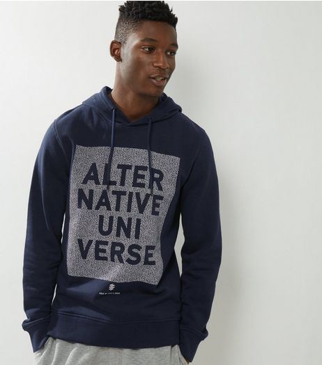 Jack & Jones Navy Slogan Print Panel Hoodie  | New Look
