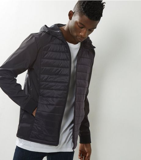 Jack & Jones Black Quilted Panel Hooded Jacket | New Look