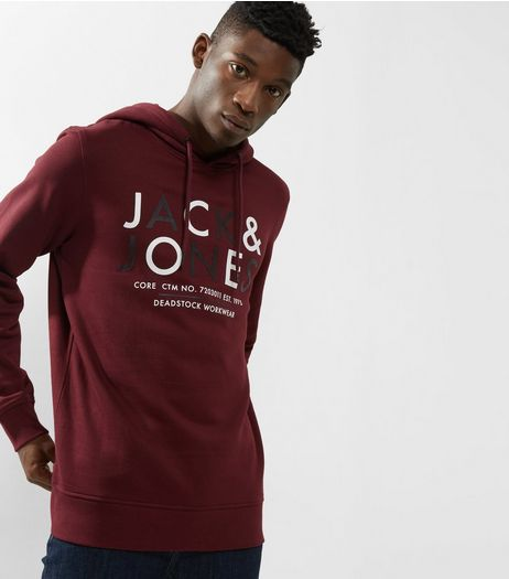 Burgundy Jack & Jones Print Hoodie | New Look