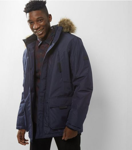 Jack & Jones Navy Hooded Faux Fur Trim Parka | New Look