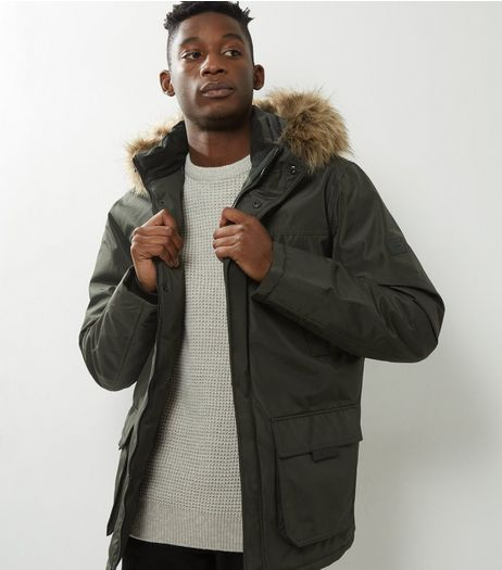 Jack & Jones Khaki Faux Fur Trim Parka  | New Look