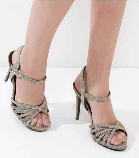 Gold Knot Front Ankle Strap Heels | New Look