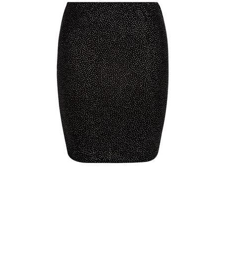 Teens Black Glitter Dot Cold Bodycon Skirt | New Look