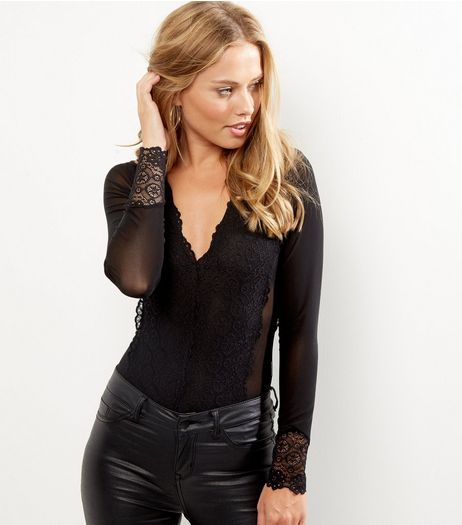 Blue Vanilla Black Lace Long Sleeve Bodysuit  | New Look