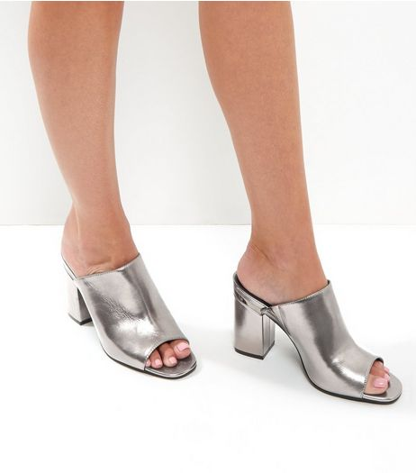 Silver Metallic Trim Block Heel Mules | New Look