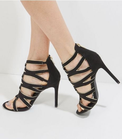 Black Suedette Contrast Trim Heeled Sandals | New Look