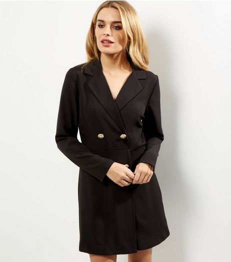 Black Long Sleeve Tuxedo Dress | New Look
