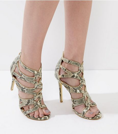 Cream Snakeskin Strappy Heeled Sandals | New Look