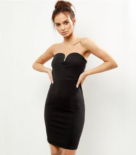Black Gold Bar Bandeau Dress | New Look