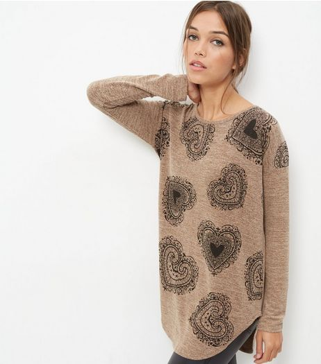 Camel Heart Print Zip Back Top | New Look
