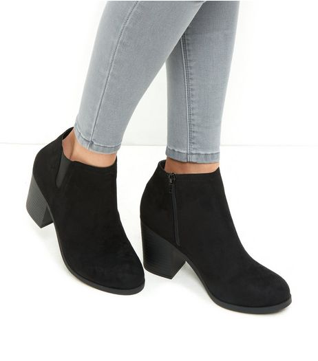 Black Suedette Block Heel Chelsea Boots  | New Look