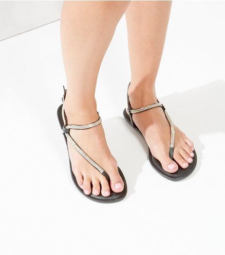 Black Leather-Look Embellished Trim Flip Flops | New Look