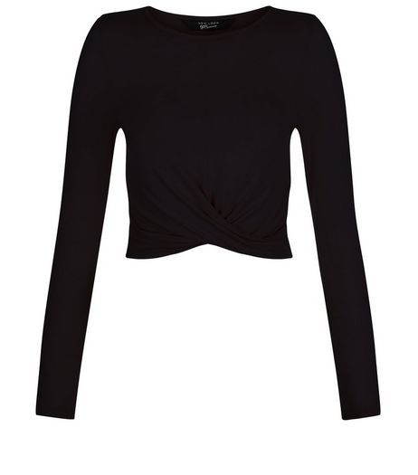 Teens Black Crew Neck Twist Front Top | New Look