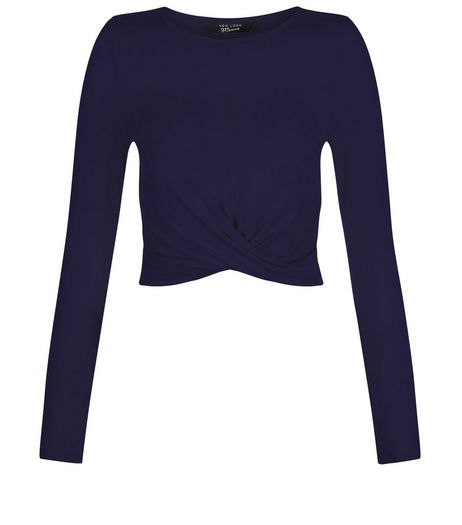 Teens Navy Crew Neck Twist Front Top | New Look