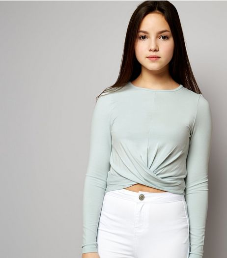 Teens Pale Blue Crew Neck Twist Front Top | New Look