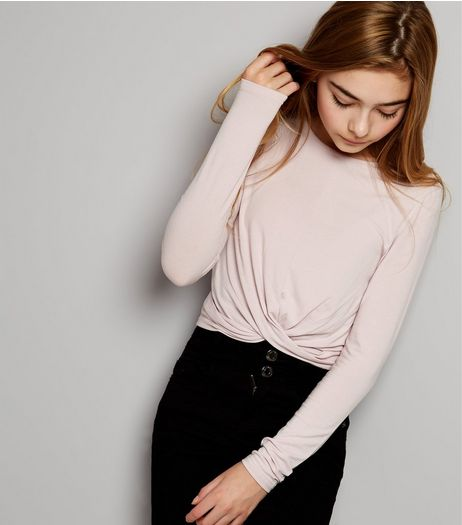 Teens Lilac Crew Neck Twist Front Top | New Look