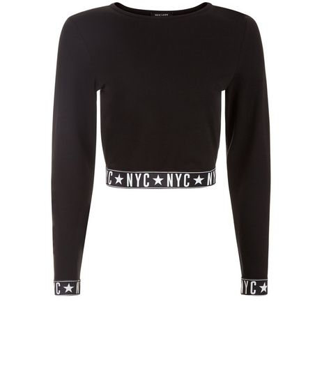 Teens Black NYC Hem and Cuff Crop Top | New Look