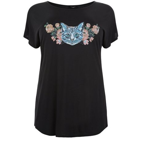 Black Floral Cat Print T-Shirt  | New Look