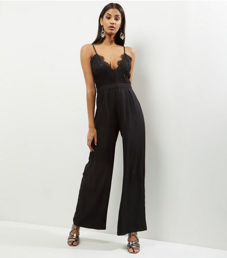 Influence Black V Neck Lace Trim Jumpsuit  | New Look