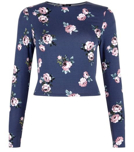 Teens Blue Rose Print Long Sleeve Top | New Look