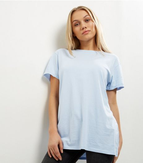 Petite Pale Blue Boyfriend T-shirt | New Look